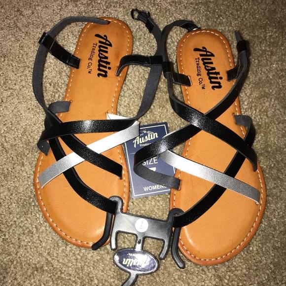 c2c15c1e075e Brand New Strappy Black and Silver Sandals